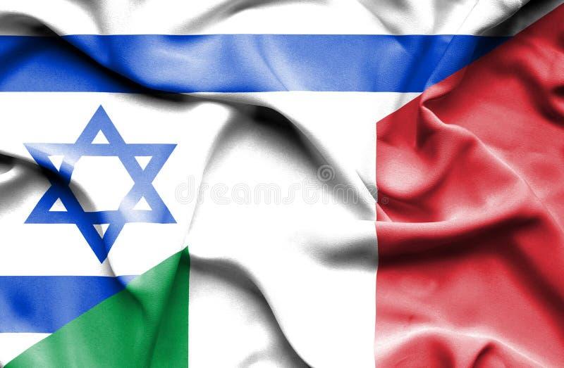 意大利和以色列的挥动的旗子 向量例证