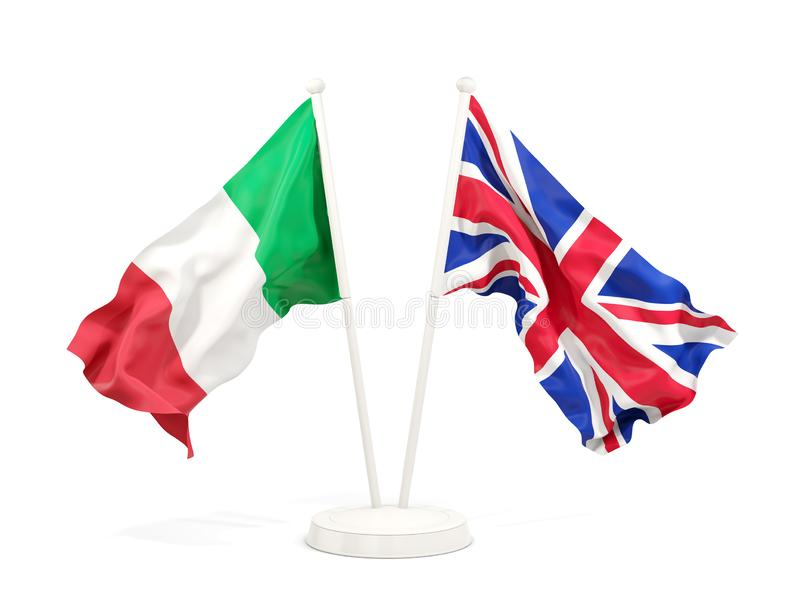 意大利和英国的两面挥动的旗子 皇族释放例证