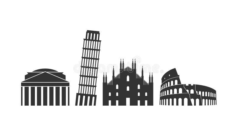 意大利商标 在白色背景的被隔绝的意大利建筑学 皇族释放例证