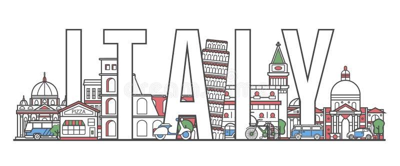 意大利在线性样式的旅行字法 向量例证