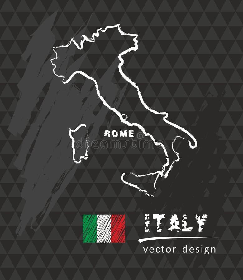 意大利地图,在黑板的传染媒介图画 皇族释放例证