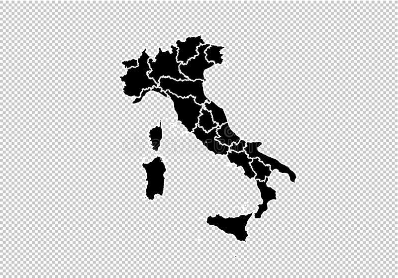 意大利地图-上流详细的黑地图以县/意大利的地区/状态 在透明背景隔绝的意大利地图 皇族释放例证