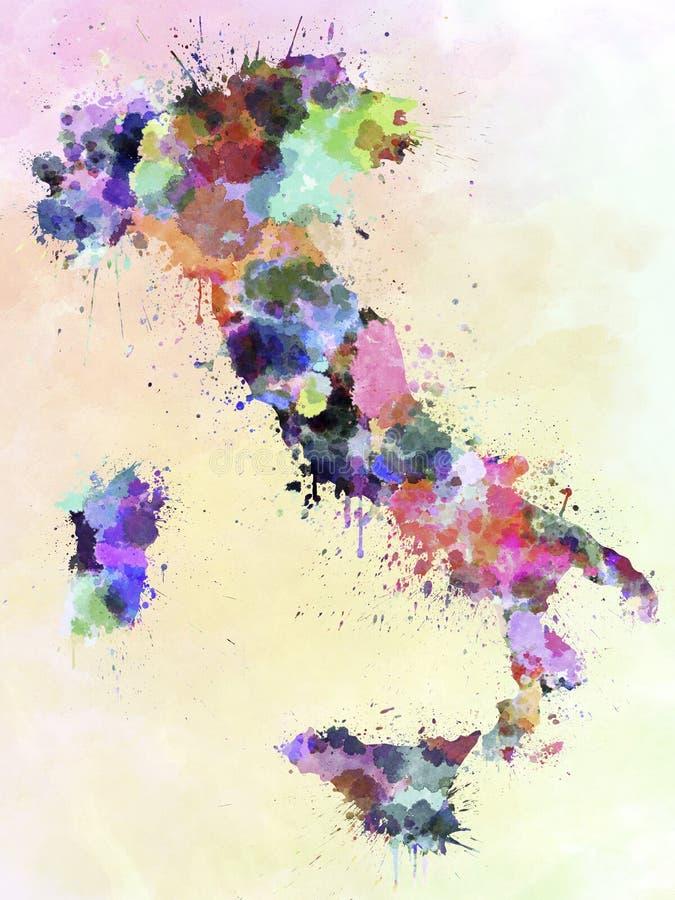 意大利地图水彩样式飞溅 库存例证