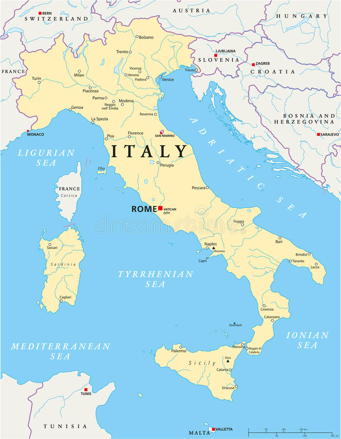意大利地图 库存例证
