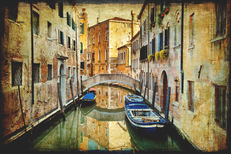 意大利地标威尼斯葡萄酒 免版税库存照片