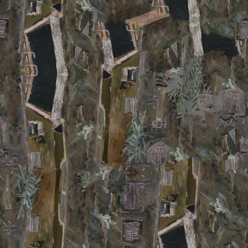 意大利城市 油画无缝的样式 老城市 图库摄影