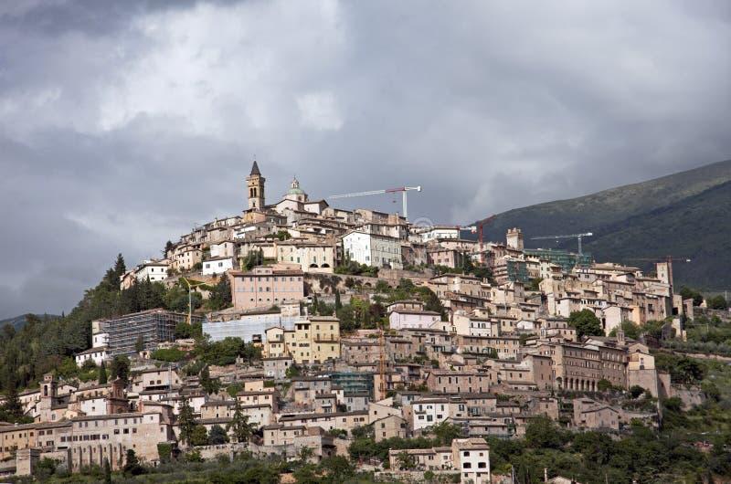 意大利城镇trevi 库存照片
