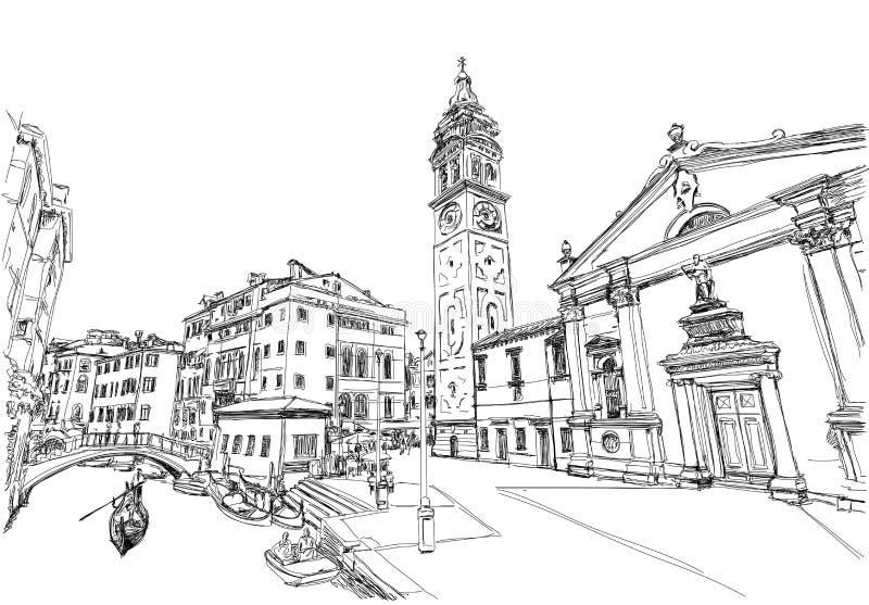 意大利威尼斯 Ponte del Mondo诺沃,园地S 玛丽亚福摩萨 库存例证