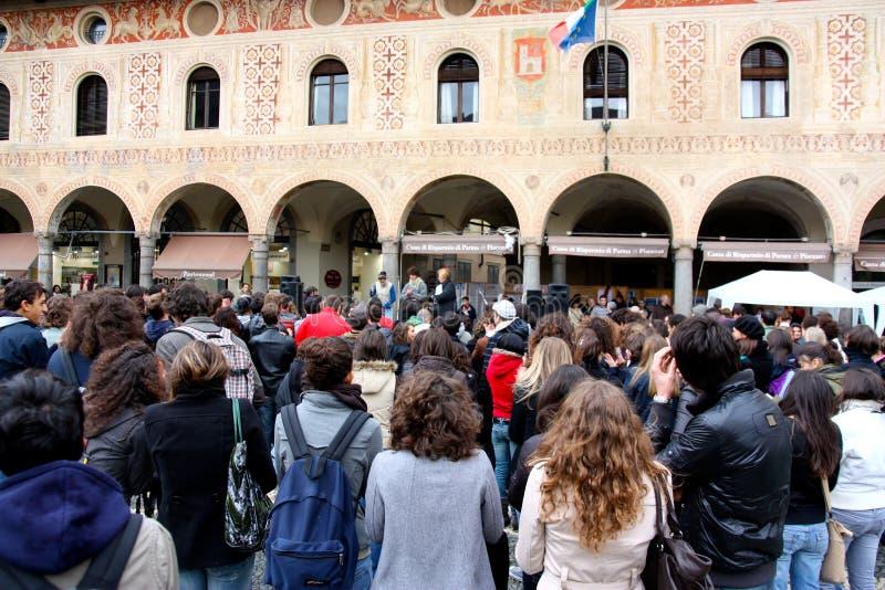 意大利学校罢工 免版税库存图片
