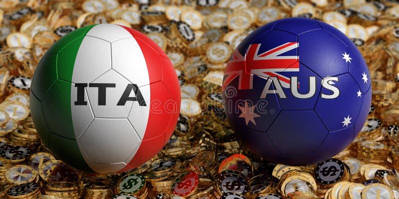 意大利对 澳大利亚足球比赛-在意大利和澳大利亚全国颜色的足球在金黄美元硬币床上  皇族释放例证