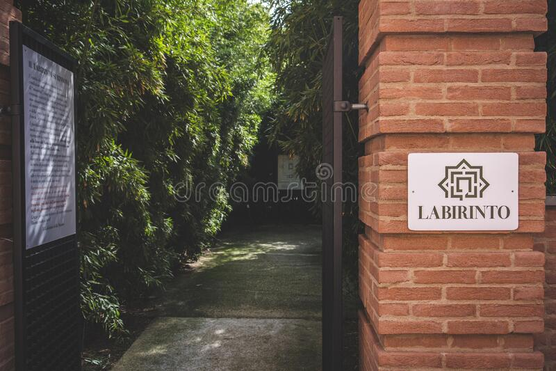 意大利帕尔马附近丰塔内拉托的马索纳迷宫入口 库存照片