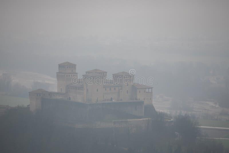 意大利帕尔马附近的托雷基亚拉城堡 图库摄影