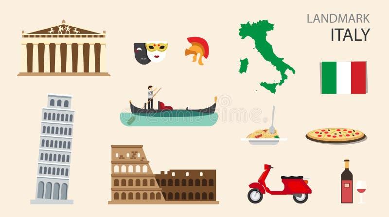意大利平的设计地标概念 向量 向量例证