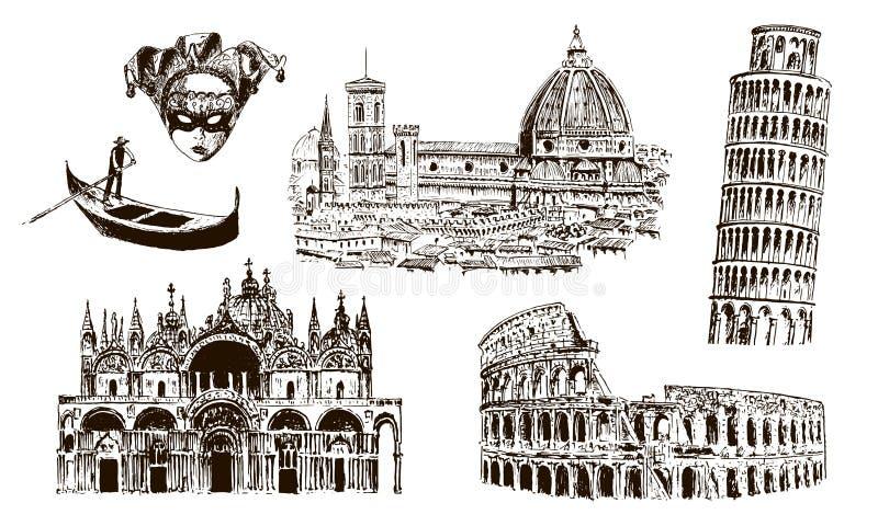 意大利建筑标志:大剧场,中央寺院圣塔玛丽亚del fiore, pisan塔, Basilica di圣Marco,长平底船, carnaval面具 向量例证