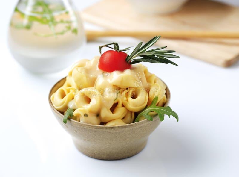 意大利式饺子和调味汁 库存图片