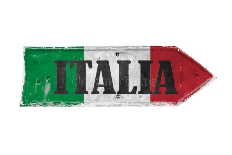 意大利意大利用与颜色的意大利语绿化,白色和红色被绘在箭头 免版税库存图片