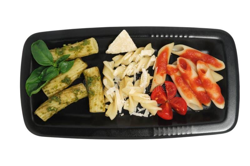 意大利意大利面食三色典型 免版税库存图片