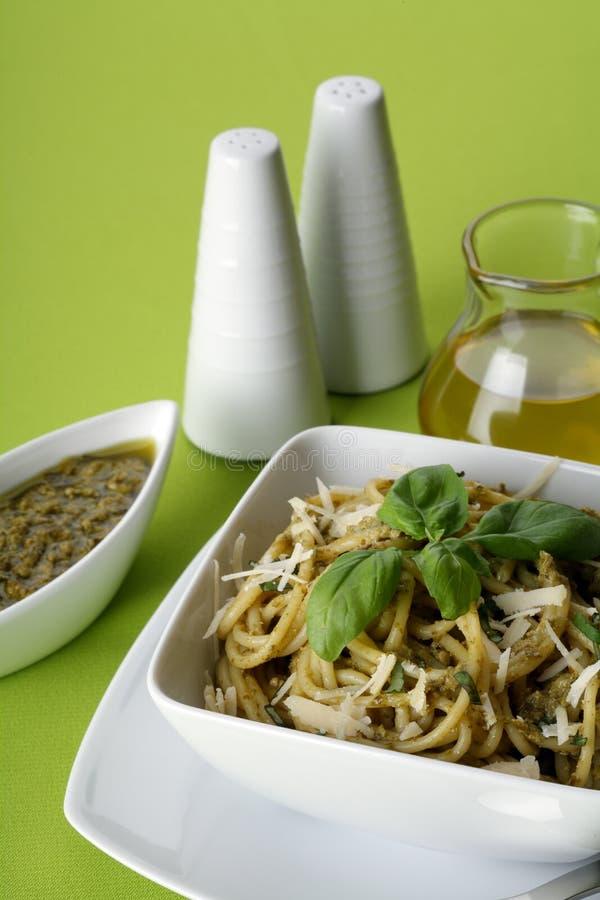 意大利意大利面食pesto意粉 免版税库存照片