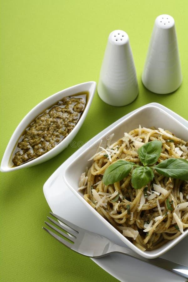 意大利意大利面食pesto意粉 图库摄影
