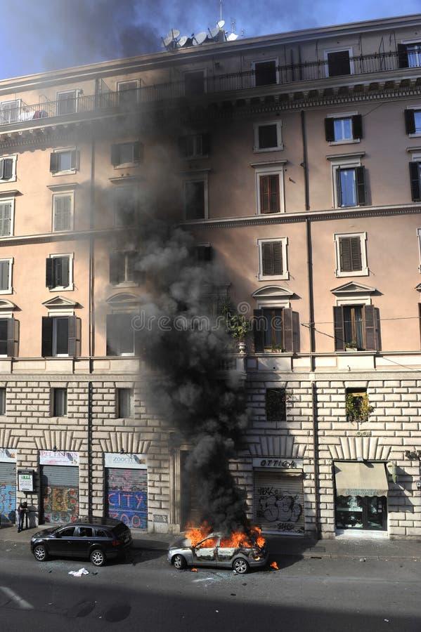 意大利拒付暴乱罗马学员 免版税库存照片