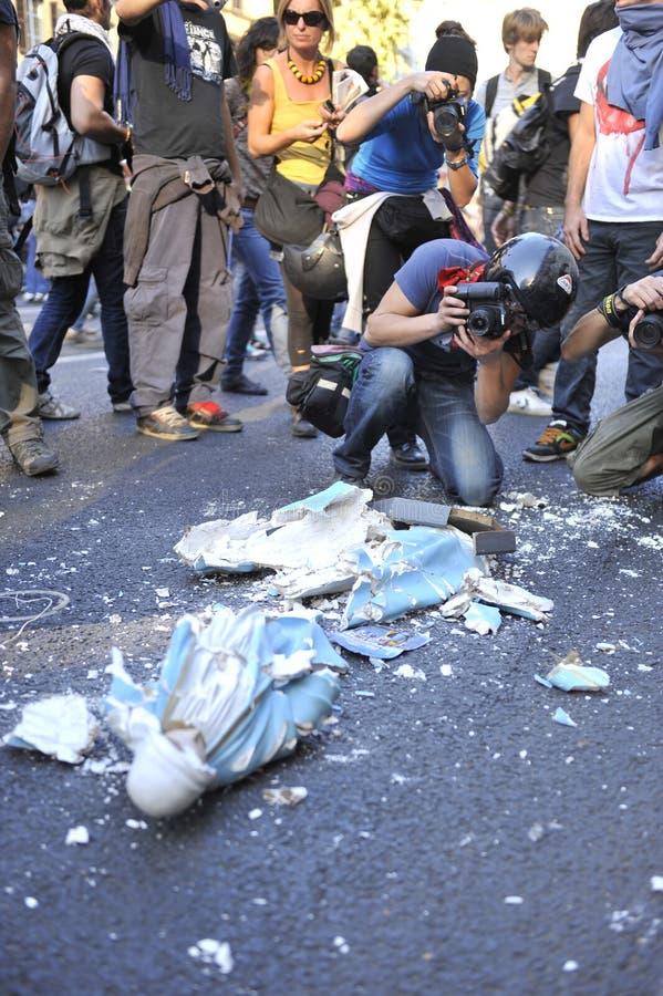 意大利拒付暴乱罗马学员 库存照片