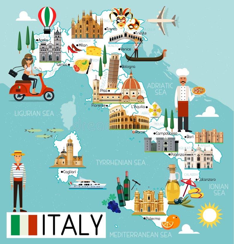 意大利旅行地图 库存例证