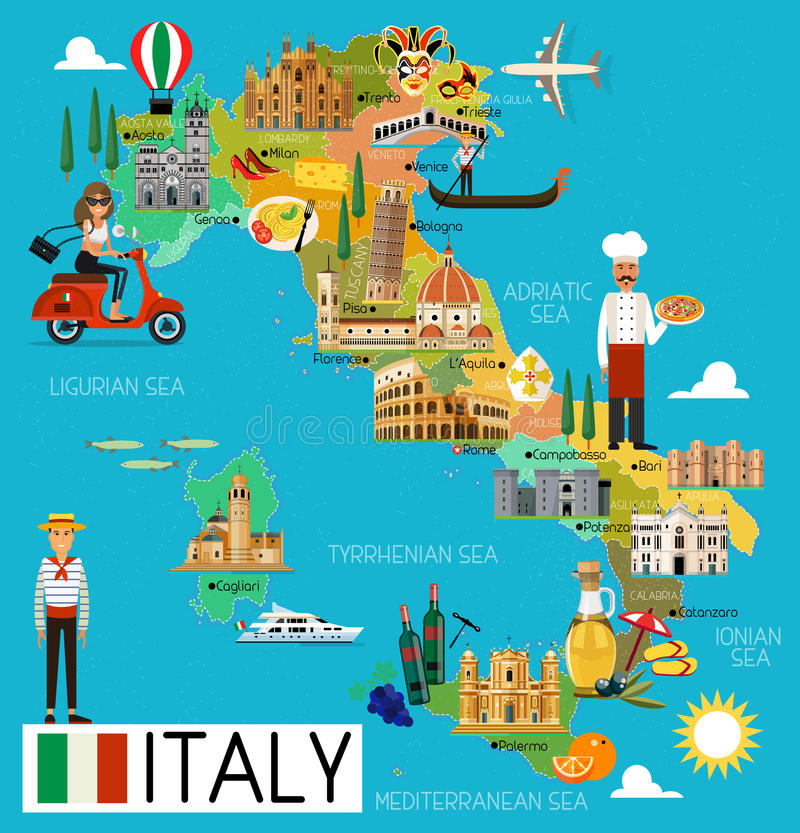 意大利旅行地图 皇族释放例证