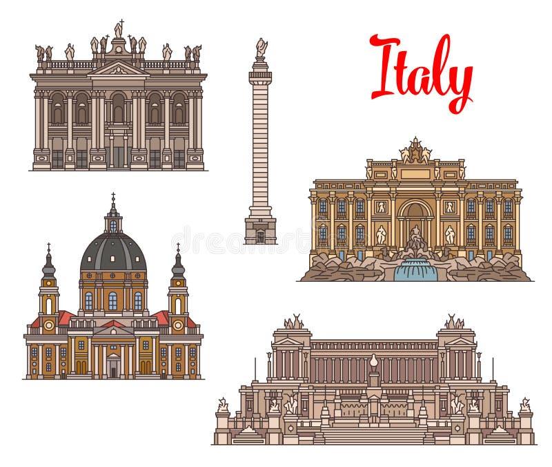 意大利旅行地标和sightseens 皇族释放例证
