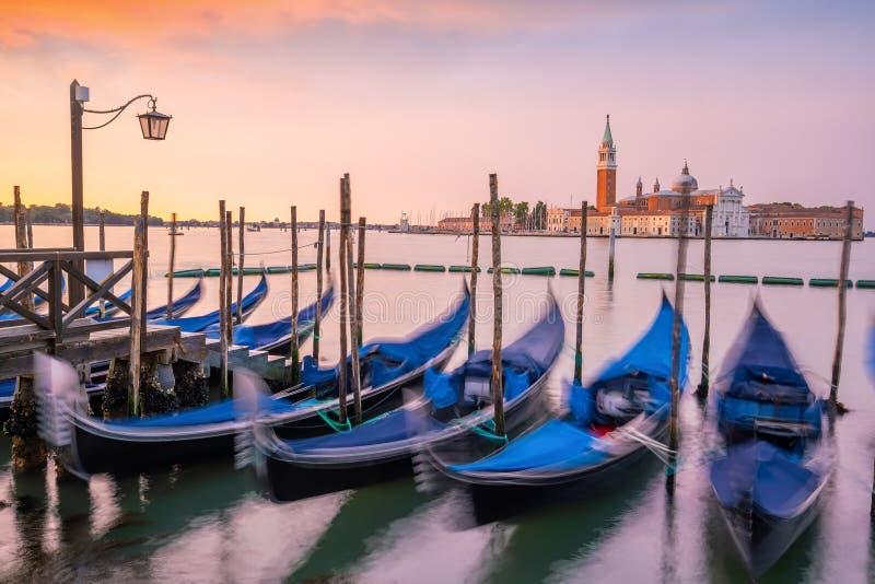 意大利日出时的威尼斯城市景观 免版税库存照片