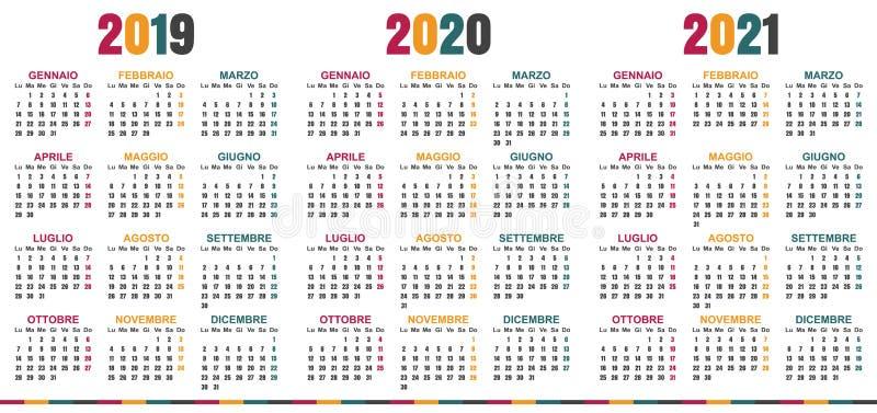 意大利日历2019-2021