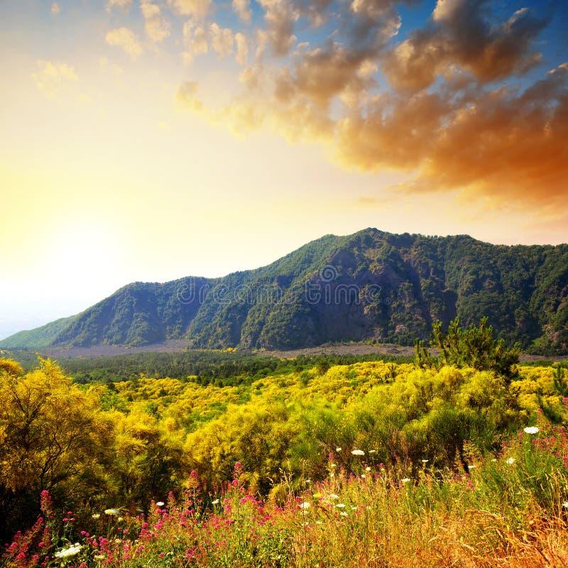 意大利日落时的维苏威火山附近山景 免版税库存图片