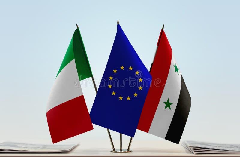 意大利欧盟和叙利亚的旗子 免版税图库摄影