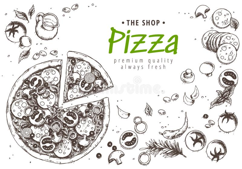 意大利比萨顶视图框架 一套经典意大利盘 意大利料理,比萨店菜单设计模板 葡萄酒手 向量例证