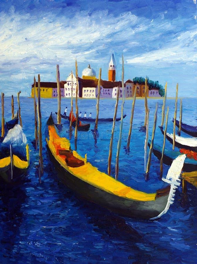 意大利油画威尼斯 皇族释放例证
