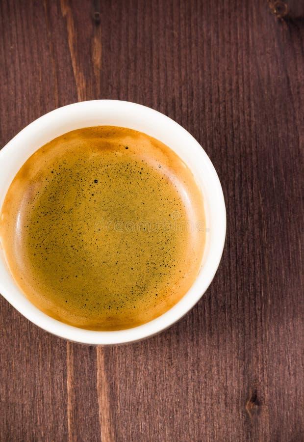 意大利浓咖啡咖啡杯顶视图 免版税库存图片
