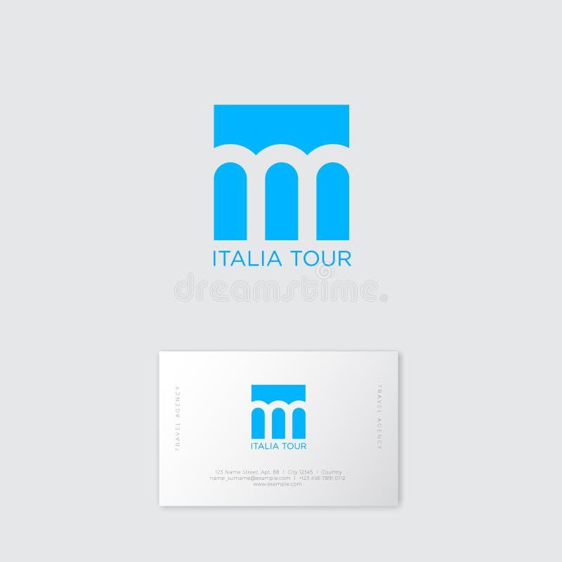 意大利游览商标 在蓝色背景的三曲拱 古老罗马高架桥标志 向量例证