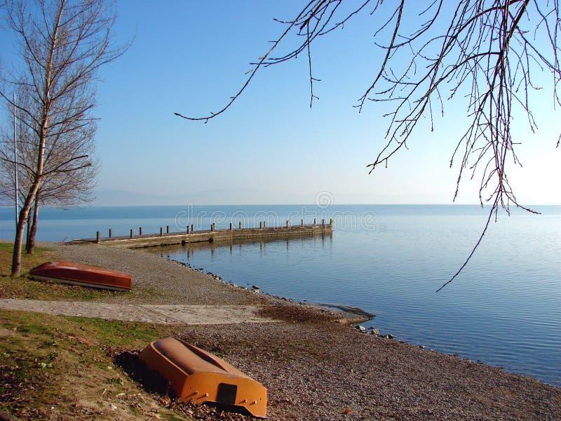 意大利湖trasimeno 库存照片