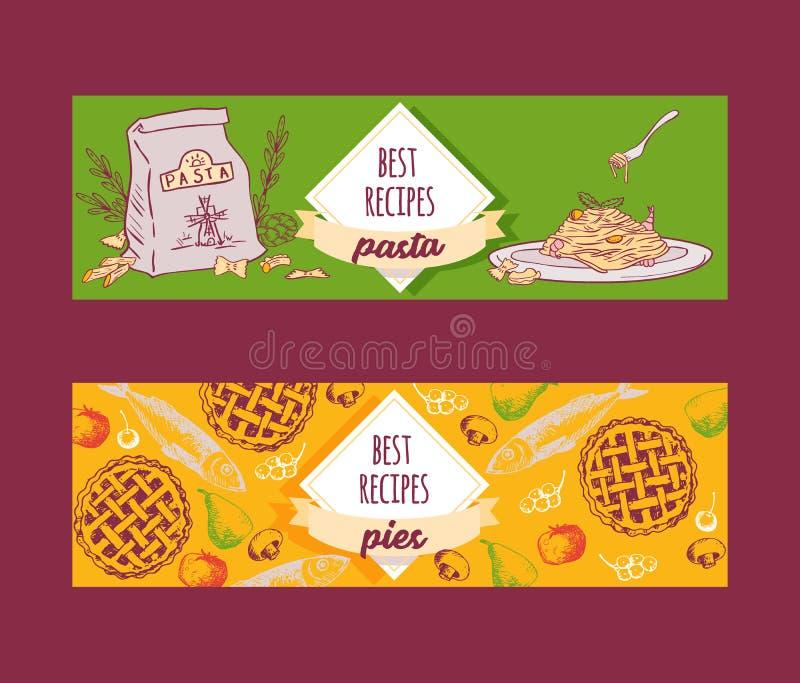 意大利烹调面团食谱盘和饼导航横幅集合 面团、意粉、通心面和烤宽面条用乳酪和 向量例证