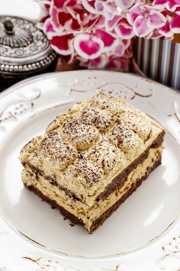 意大利烹调:提拉米苏蛋糕 免版税库存图片