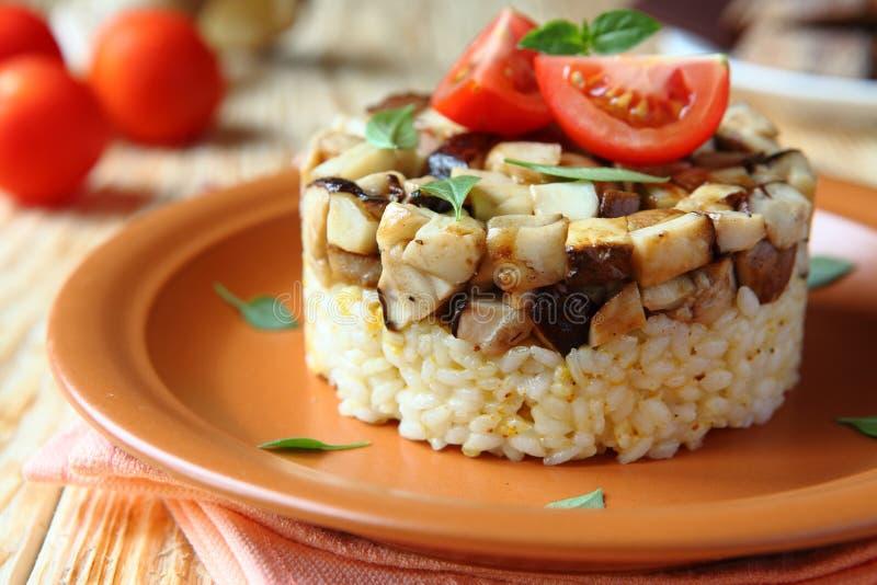 意大利煨饭用烤蘑菇 免版税库存照片