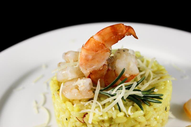 意大利煨饭用皇家虾 免版税图库摄影