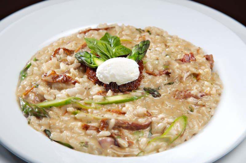 意大利煨饭用蘑菇和干蕃茄 库存照片