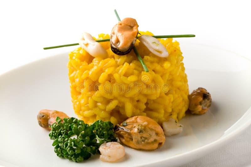 意大利煨饭番红花海鲜 库存图片