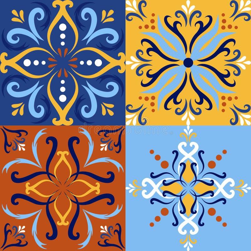 意大利瓷砖设置了无缝的样式背景 传统华丽塔拉韦拉装饰颜色瓦片azulejos 库存例证