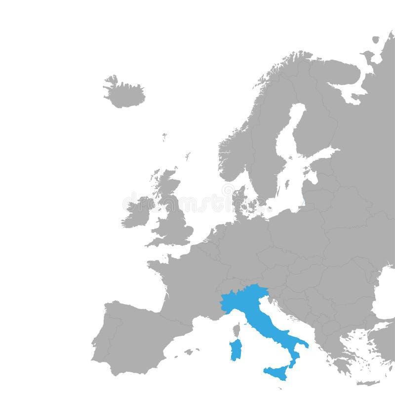 意大利的地图在欧洲地图的蓝色被突出  皇族释放例证
