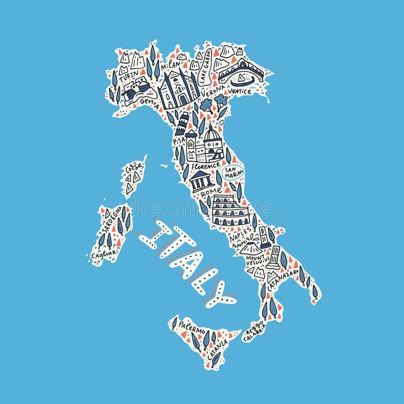 意大利的手拉的地图 库存例证