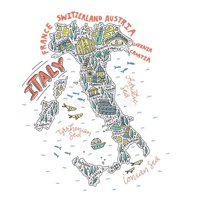 意大利的手拉的地图 向量例证