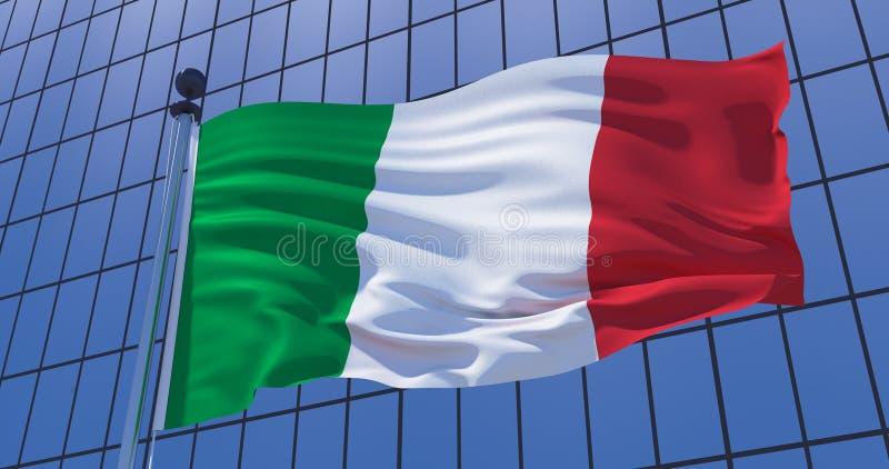 意大利的旗子摩天大楼大厦背景的 到达天空的企业概念金黄回归键所有权 3d例证 皇族释放例证