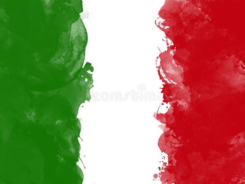 意大利的旗子由水彩画笔,难看的东西样式的 向量例证