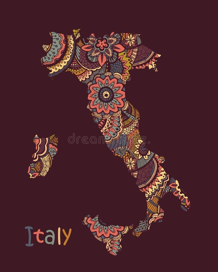 意大利的织地不很细传染媒介地图 例证手中画的乱画样式 皇族释放例证
